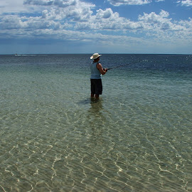 Fishing Ben by Sean Heatley - Sports & Fitness Other Sports ( water, south australia, ocean, in water, travel, recreation, yorke peninsula, blue sky, blue, ripple, fishing, public, man )
