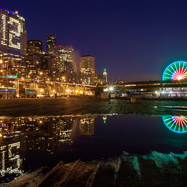 12 by Shehab Hossain - Buildings & Architecture Other Exteriors ( reflection, superbowl, seahawks, hossain, pier 57, new york, 12, seattle aquarium, night photography, great wheel, seattle, shehab, imaginoor photography, ferris wheel,  )