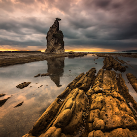 Before Storms by Ade Noverzan - Landscapes Beaches ( clouds, sunset, beach, dusk, rocks )