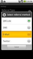 Screenshot of App Referrer