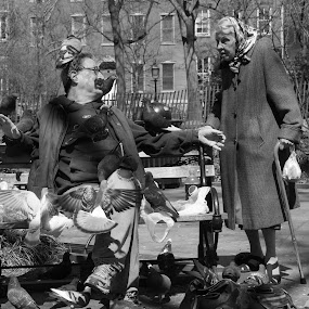 The Conversation by VAM Photography - Black & White Street & Candid ( park, woman, nyc, birds, man,  )