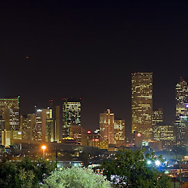 Denver by Jake Pedroza - City,  Street & Park  Skylines ( lights, canon, skyline, night photography, buildings, denver, long exposure, telephoto, city )