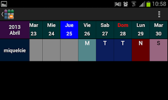 Screenshot of SaTurnos Pro Calendar