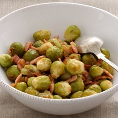 Brussels Sprouts in Riesling with Bacon