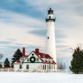 Wind Point Christmas #2 by Jebark Fineartphotography - Buildings & Architecture Public & Historical ( winter, wind point, snow, christmas, lighthouse )