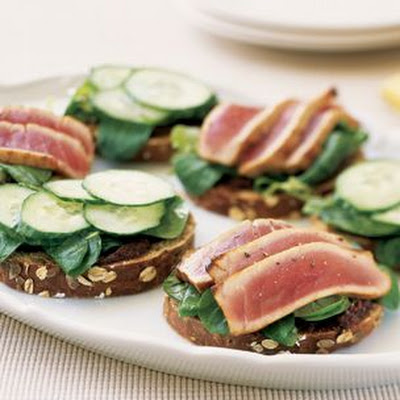 Ahi Tuna and Cucumber Sandwiches with Tapenade