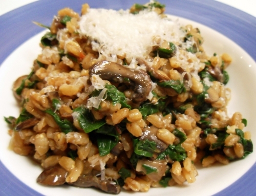 Farrotto with Mushrooms, Chard, Garlic, and Ginger