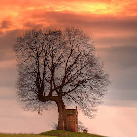 The Chapel by Tom Davidson - Landscapes Prairies, Meadows & Fields ( horst, sunset, path, ixtussy, belgium, chapel, fire, nature, landscape,  )