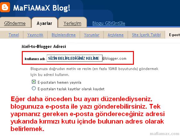 Blogger'a e-posta ile yazı gönderme