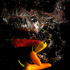 Chilli Splash 2 by Don Alexander Lumsden - Food & Drink Fruits & Vegetables