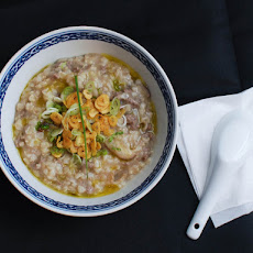 Brown Rice Congee With Beef, Shiitake, and Garlic Chips