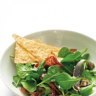 Roasted Vegetable Salad with Prosciutto and Cheese Crisps