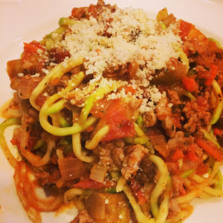 """Spaghetti"" with Turkey & Eggplant Bolognese (Zucchini Noodles)"