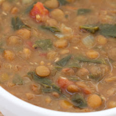 Vegetarian Lentil Soup with Spinach, Tomatoes, and Cumin