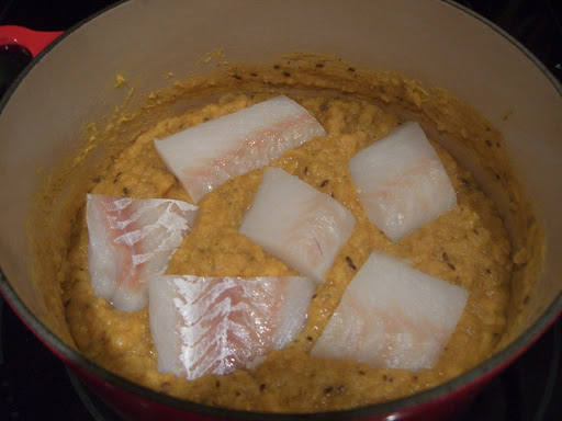 Fish with Spicy Red Lentils