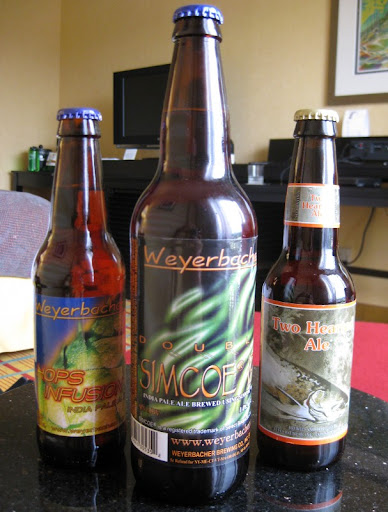 Weyerbacher Hops Infusion and Double Simcoe and Bell's Two Hearted Ale from Bruisin' Ales