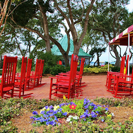 Hilton Head Charm by Bridgette Rodriguez - City,  Street & Park  Neighborhoods ( charming, chair, merchants, small town, southern, park, chairs, neighborhood, streets, ocean,  )
