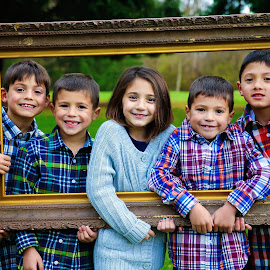 Framed by Sharon Fuscellaro Canale - Babies & Children Child Portraits ( sister, triplets, girl, framed, boys, children, kids, group, smiles, twins, brothers )