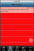 Screenshot of BSA Soccer App