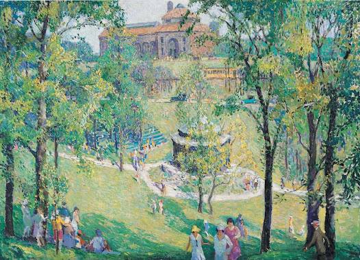 This painting depicts the Art Museum within its lush Eden Park setting in the early 20th century. The original building can be seen beyond what is now Seasongood Pavilion. The original Cincinnati streetcar can be seen on its track flanking the museum grounds.