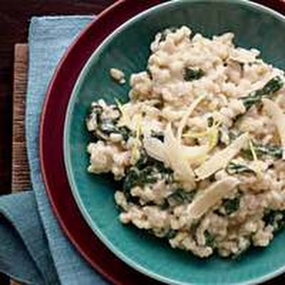 Barley Risotto with Garlic Spinach and Mascarpone