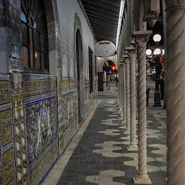 Sidewalk and wall art at the Columbian Resturant by Skip Thompson - Novices Only Street & Candid ( architecture, city )
