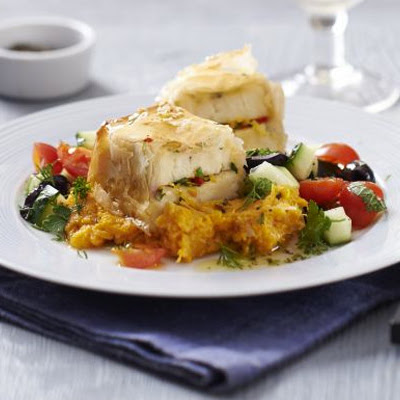 Sesame Halloumi Parcels With Sweet Potato Tahini Mash & Chopped Herb Salad