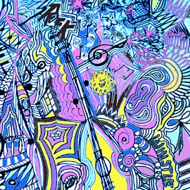 Musical Zentangle by Rhonda Lee - Digital Art Abstract ( music, purple, fun rock, art, fun, drawing, whistle, doodle, blue, drum, guitar, pink, dance, note )