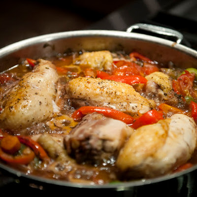 Garlic Chicken With Peppers and Beans
