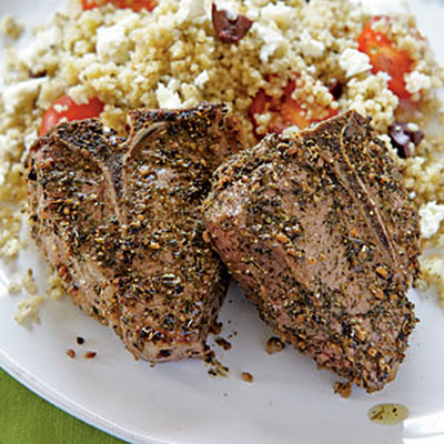 Lamb Chops with Olive Couscous