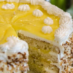 Lemon Curd Layer Cake with Toasted Coconut