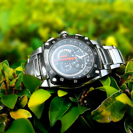 watch in nature by Kulchan Kitti - Artistic Objects Clothing & Accessories ( clock, summer, hour, sunlight, passing, object )
