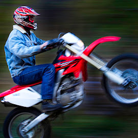 Riding fast by Candee Watson - Transportation Motorcycles ( red, blue, riding, green, sports, motorcycle, stunts )