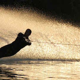 Sunset ski by Pierre De Villiers - Novices Only Sports ( water, ski, sunset, outdoor, sport )