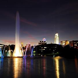 Omaha Night by Steve O'Donnell - City,  Street & Park  City Parks ( water, omaha, urban, building, skyline, park, fountain, lake, night, dusk, city )