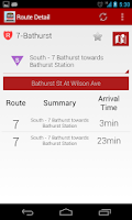 Screenshot of TTC Toronto Transit Live