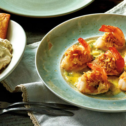 Stuffed Shrimp with Scampi Sauce and Toffee-Apple Dip