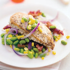 Sautéed Chicken with Corn and Edamame