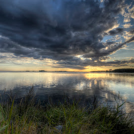 Evening in August by Kim  Schou - Landscapes Cloud Formations ( hdr, sunset, august, lindelse, lolland )