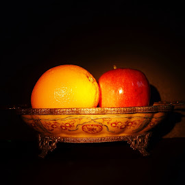 Apple and orange an exotic dish. by Esther Lane - Food & Drink Fruits & Vegetables ( dish, orange, fruit, apple, fruits, exotic dishes, exotic )