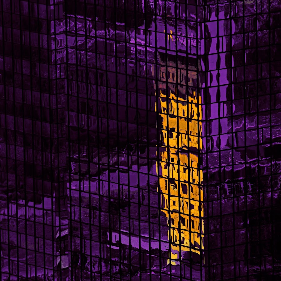 reflections of the city by Brut Carniollus - Abstract Patterns ( abstract, urban, purple, reflections, yellow, architecture, color,  )