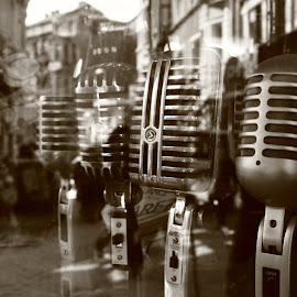 la belle musique by Maher Khoudary - Artistic Objects Musical Instruments ( music, reflection, old, microphone, black and white, street, art, istanbul, architecture, romance )