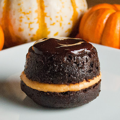 Upside-Down Pumpkin Filled Chocolate Cupcakes