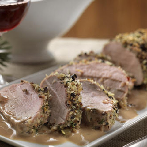 Peppercorn Crusted Pork Tenderloin with Balsamic Cream Sauce