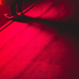 Red Lines by Jenny Harper - Abstract Patterns ( red, redcarpet, aisle, feet, lines, light )
