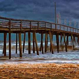 Stormy Day by James Gramm - Buildings & Architecture Bridges & Suspended Structures ( stormy, clouds, water, sand, waves, pier, ocean, beach )