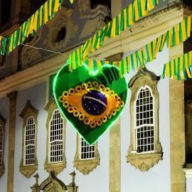 Nossa Senhora do Rosario dos Pretos by Tomek Karasek - City,  Street & Park  Historic Districts ( brazil, heart, nossa senhora do rosario dos pretos, night, pelourinho )