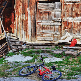 childhood  by Gergana Stefanova - Transportation Bicycles ( mountain, red, mugla, children, bulgaria, bicycle )