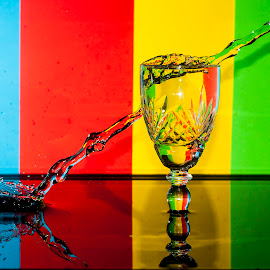 Attack by András Sziffer - Abstract Water Drops & Splashes ( water, red, reggea, color, green, drops, glass, splashes, yellow )