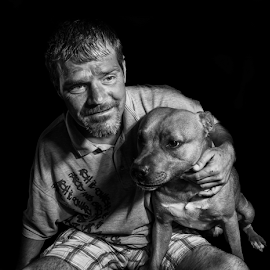 Homless George by Parker Lord - People Street & Candids ( somerset, black and white, homeless, taunton, lord parker, dog, portrait, man )